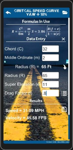 Accident Reconstruction Calculator Critical Speed Yaw